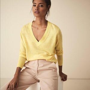 New Reiss Vita V-Neck Wool and Linen Blend Top